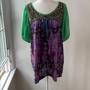 Custo Barcelona Sequin Art to Wear Tunic Size 3